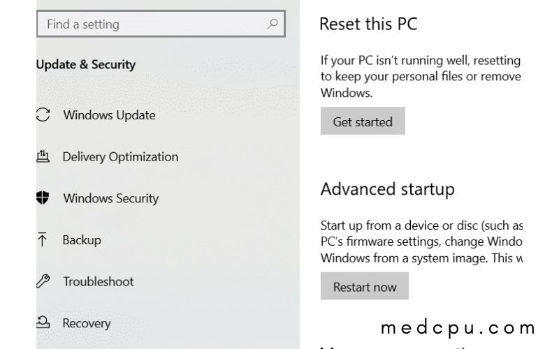 factory reset toshiba laptop in Windows 10