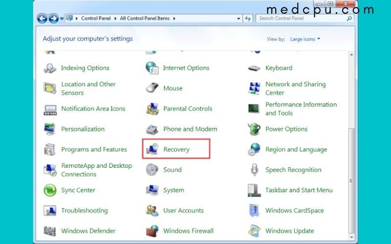 factory reset toshiba laptop in Windows 7