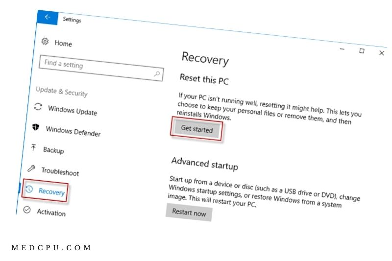 Log in to Windows 10 to factory-reset your Acer laptop