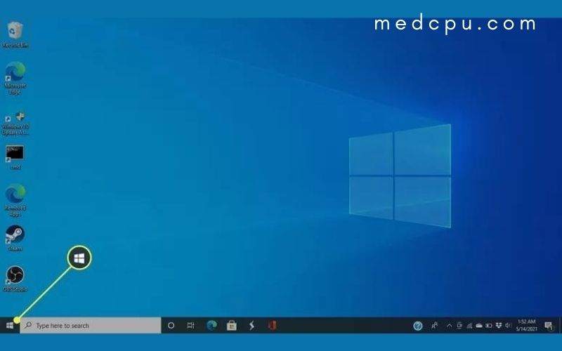 Open the Start menu for finding battery number