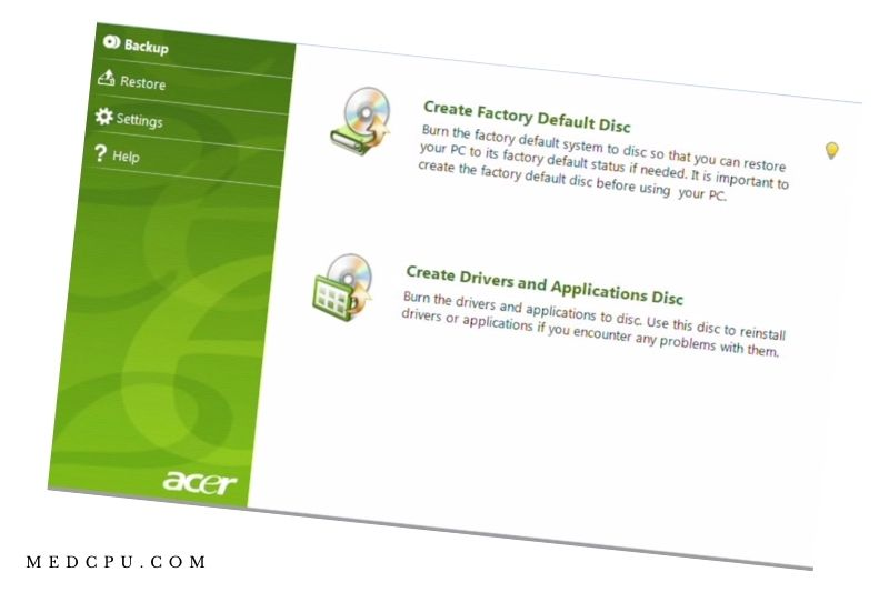 Reset Acer laptops to factory settings using ERecovery Management